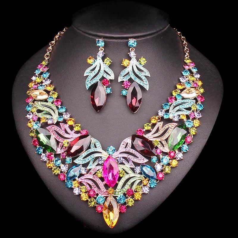 Luxury Multi Stone Set - Necklace, EarringsEarrings2 pcs set multicolor