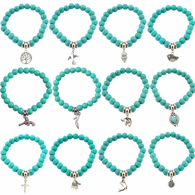 Love Turquoise Charm Bracelets - atperry's healing crystals