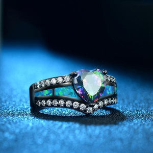 Mystic Topaz Heart Fire Opal Ring - atperry's healing crystals