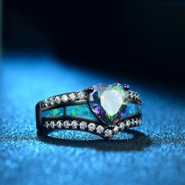 Mystic Topaz Heart Fire Opal Ring - AtPerry's Healing Crystals™