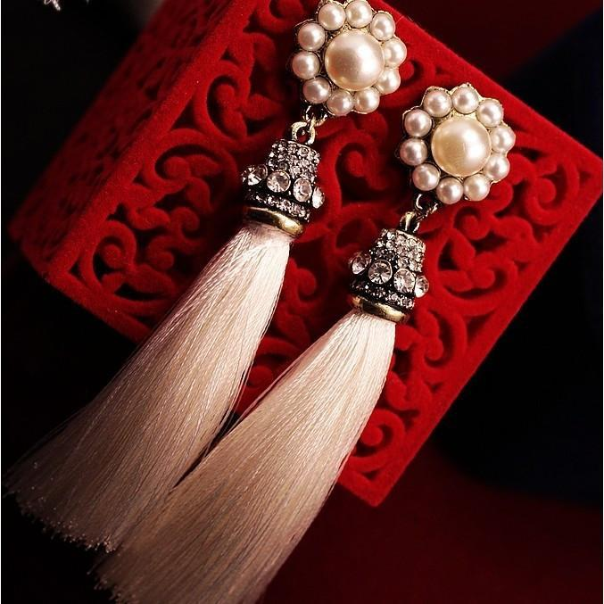 Pearl Long Tassel Earrings - AtPerrys Healing Crystals - 1