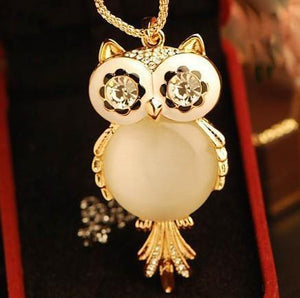 Big Opal Owl Pendant Long Chain Necklace - atperry's healing crystals