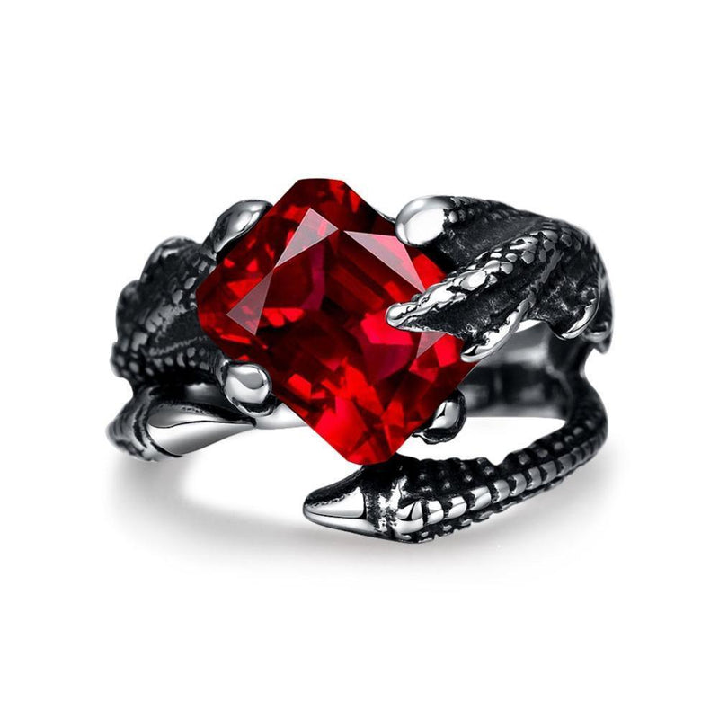 Punk Style Hot Design Stainless Steel Ruby Claw Ring - atperry's healing crystals