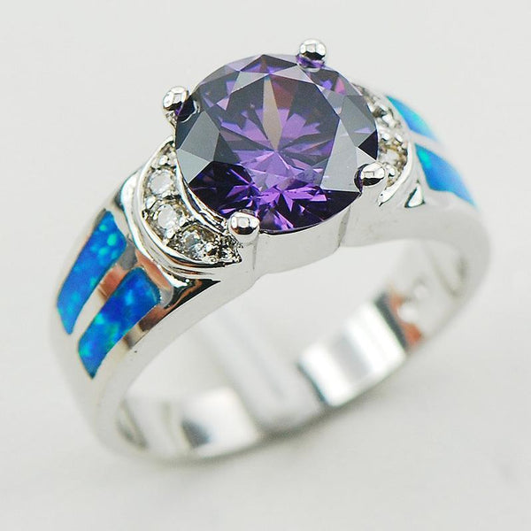 Amethyst Blue Fire Opal 925 Sterling Silver Ring - AtPerry's Healing Crystals™