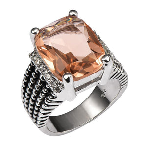 Morganite Elegant Ring - 925 Sterling Silver - atperry's healing crystals