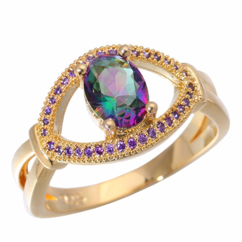 Rainbow Topaz & Crystal Ring - AtPerry's Healing Crystals™