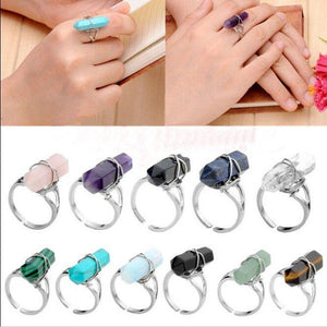 Natural Stone Crystal Ring (Resizeable)Jewelry Set