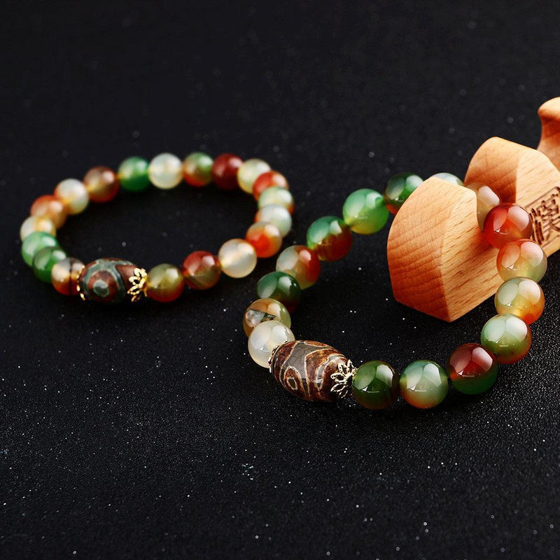 Agate Bracelet - Men Buddha Beads - atperry's healing crystals