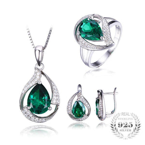 Vintage Emerald Jewelry Set - 925 Sterling Silver - AtPerry's Healing Crystals™