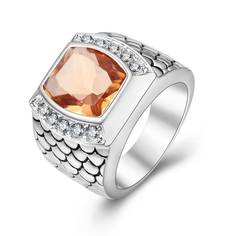 Morganite Stone 925 Sterling Silver Ring for Man - AtPerry's Healing Crystals™