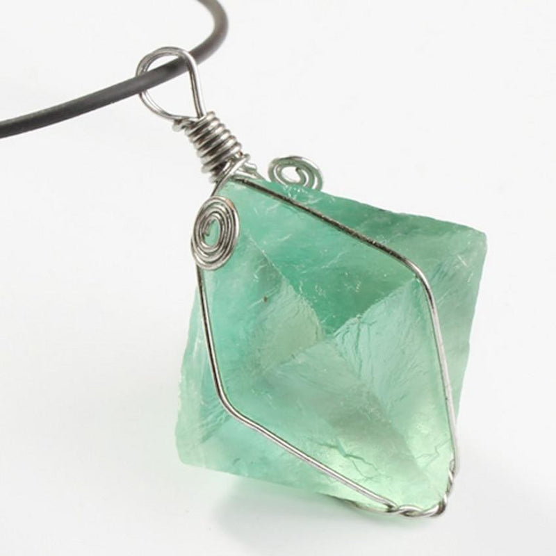 Silver Plated Green Fluorite Pendant - atperry's healing crystals