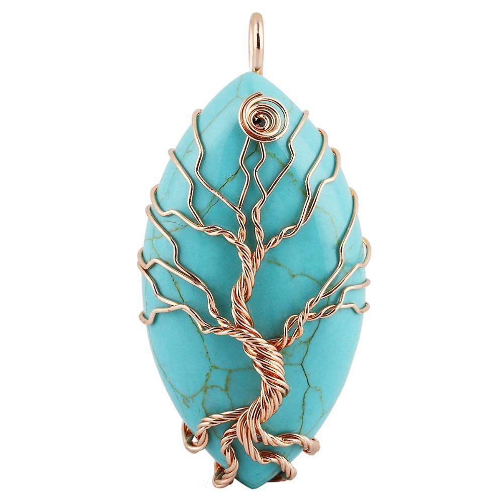 Tree of Life Turquoise Pendant - Handmade Copper Wire Wrapped