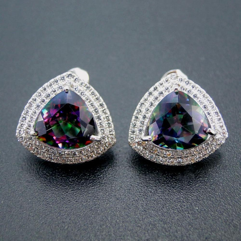New Arrival 100% 925 Sterling Sliver Captivating Rianbow Mystic Topaz Fine Stud Earrings - atperry's healing crystals
