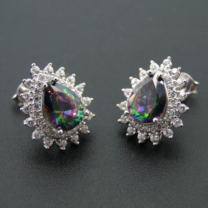 925 Sterling Silver Jewelry Rainbow Pear Shape Mystic Topaz Stud Earrings - atperry's healing crystals