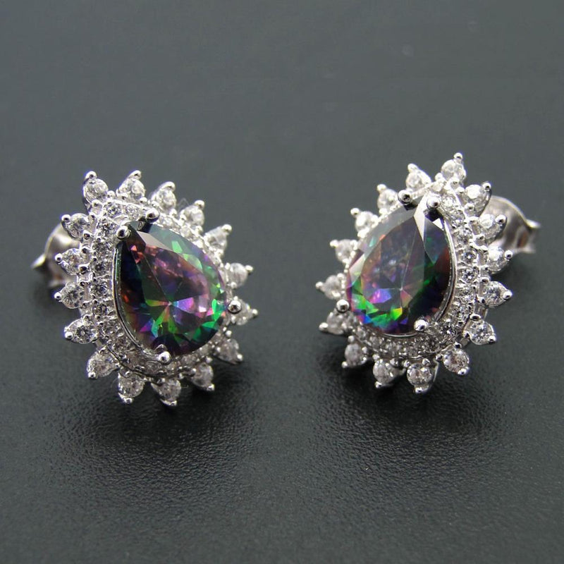 925 Sterling Silver Jewelry Rainbow Pear Shape Mystic Topaz Stud EarringsEarrings