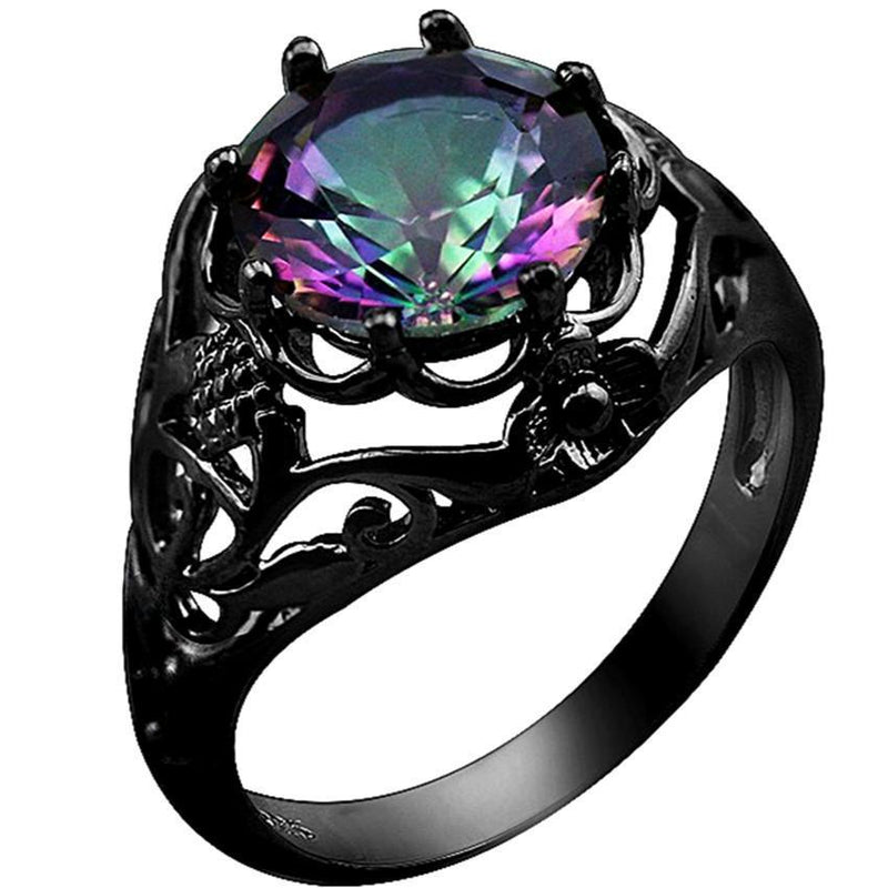 Luxurious Rainbow Mystic Fire Topaz 10KT Black Gold Filled Ring - AtPerry's Healing Crystals™