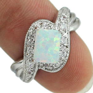Four Claw Inlay 5x8 MM Princess White Fire Opal Ring - AtPerry's Healing Crystals™