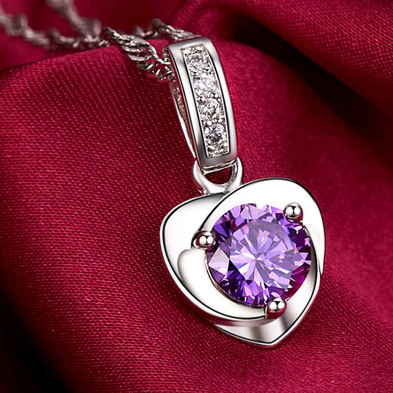 Amethyst Silver Heart Necklace - AtPerry's Healing Crystals™