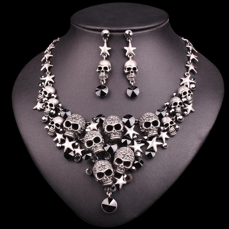 Skeleton Statement Necklace & Earrings Sets - AtPerry's Healing Crystals™