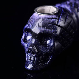 Blue Goldstone Crystal Skull Smoking Piperaw stone