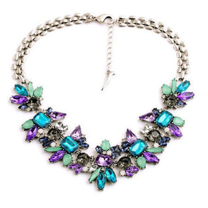 Luxury Sapphire & Amethyst Flower Necklace - AtPerry's Healing Crystals™