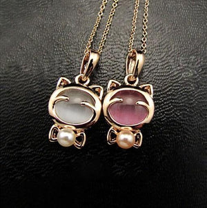 Gold Plated Cat Statement Necklace - atperry's healing crystals