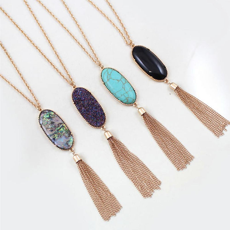 Mysterious Abalone Druzy Stone Necklace