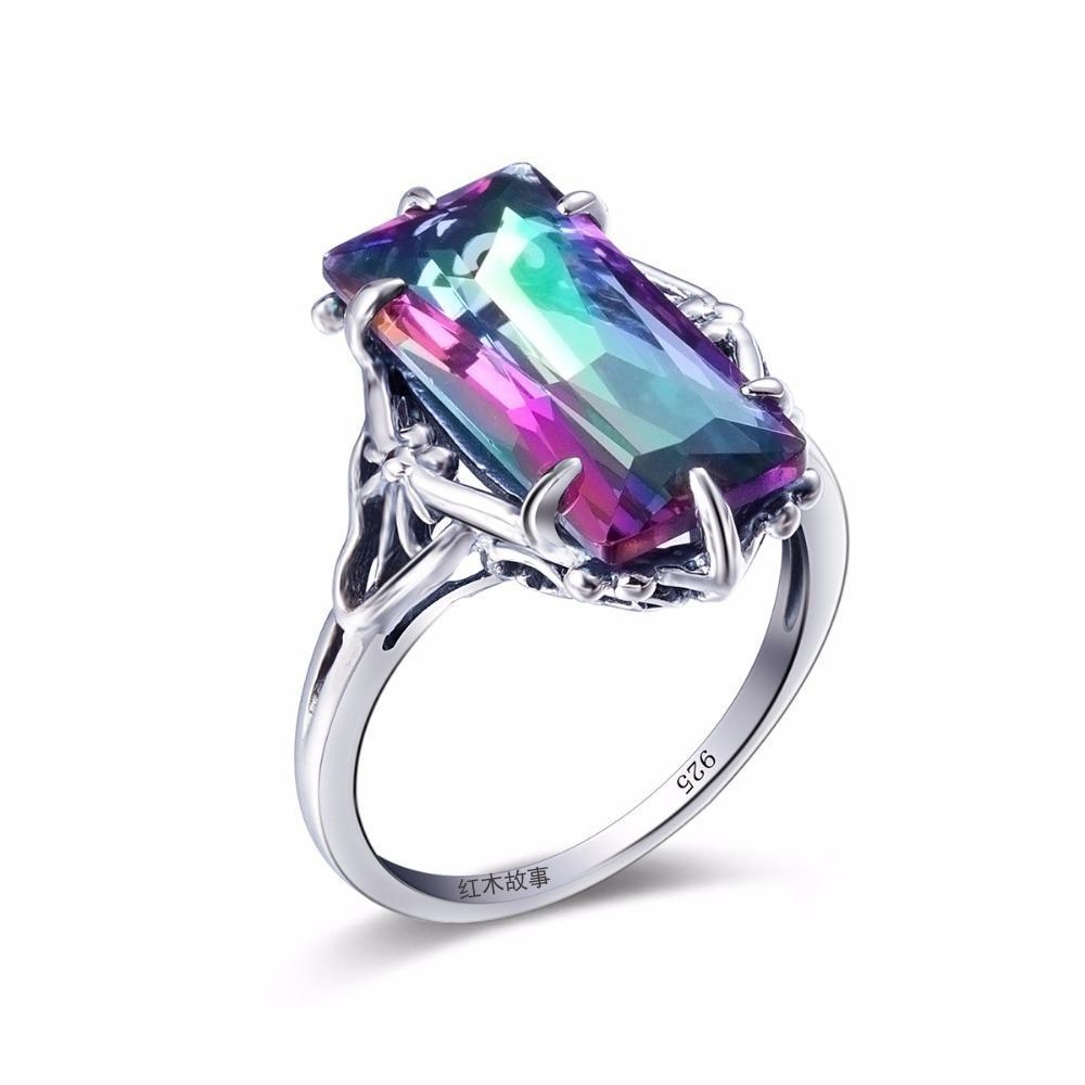 Mystic Topaz Crystal Ring - 925 Sterling Silver - AtPerry's Healing Crystals™