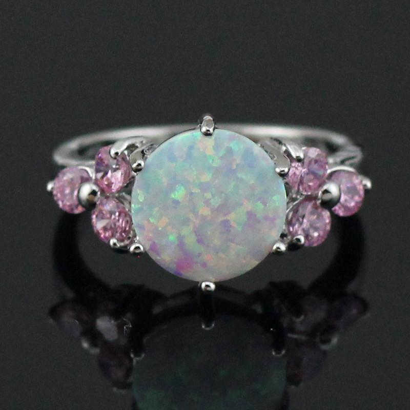 White Fire Opal Pink Topaz Ring - AtPerrys Healing Crystals - 1