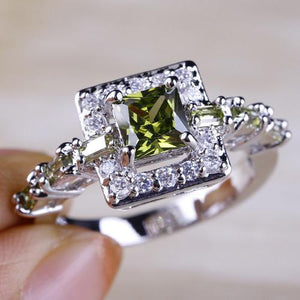 Peridot & White Topaz Silver Ring - atperry's healing crystals