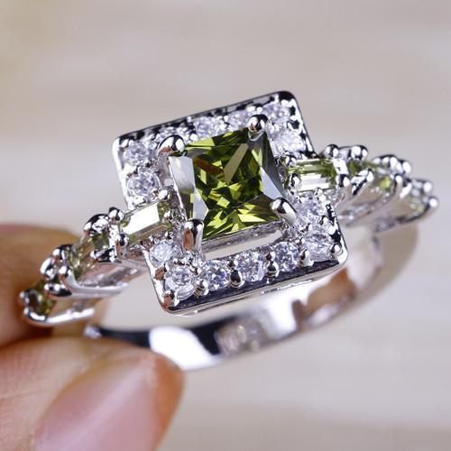 Peridot & White Topaz Silver Ring - AtPerry's Healing Crystals™