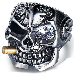 Crystal Eye Skeleton Men Ring - Stainless Steel