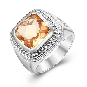 925 Sterling Silver Ring With Hugh Morganite Stone for men - AtPerry's Healing Crystals™