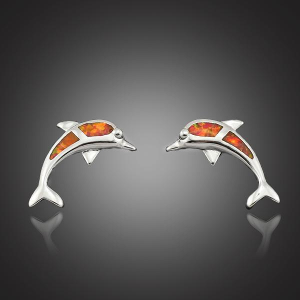 Dolphin Orange Fire Opal Silver Earrings - atperry's healing crystals