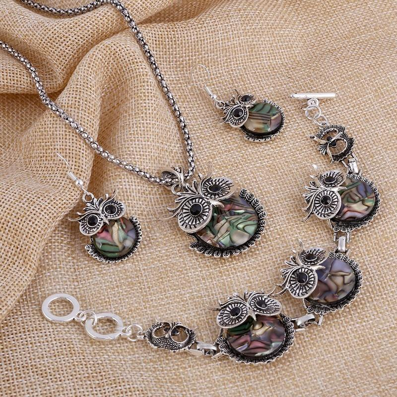 Vintage Abalone Shell Owl Jewelry Set - atperry's healing crystals