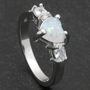 Elegant Heart Cut Rainbow Opal Ring - AtPerry's Healing Crystals™