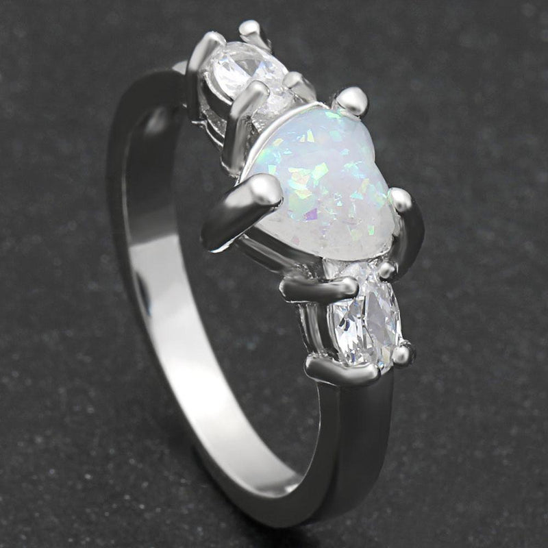 Elegant Heart Cut Rainbow Opal Ring - atperry's healing crystals