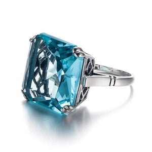 Blue Aquamarine Ring - 925 Sterling Silver
