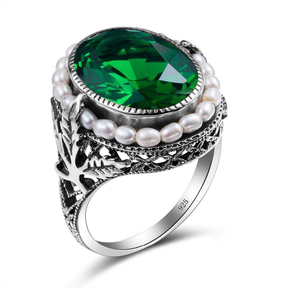 Natural Pearl Vintage Emerald Ring - 925 Sterling Silver