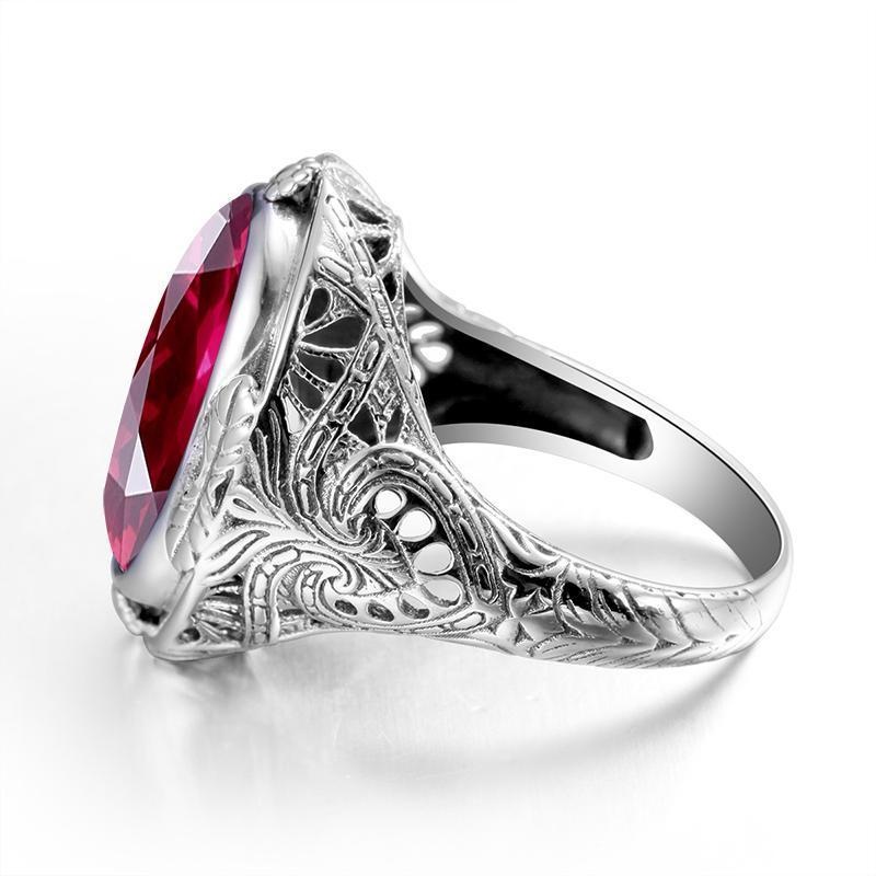 Austrian Vintage Ruby Silver Ring - atperry's healing crystals