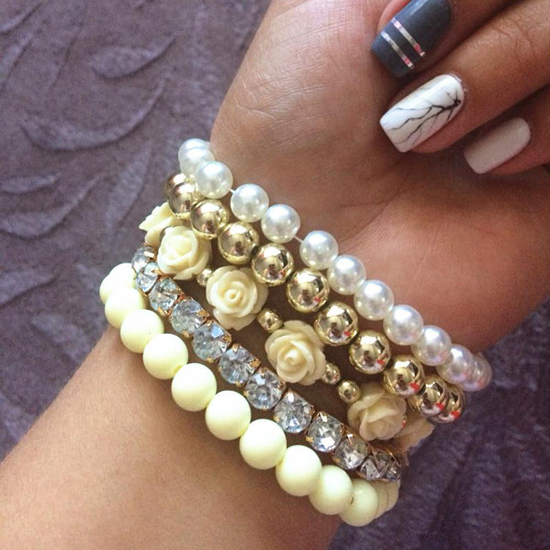 Pearl Beads Roses Bracelet - atperry's healing crystals