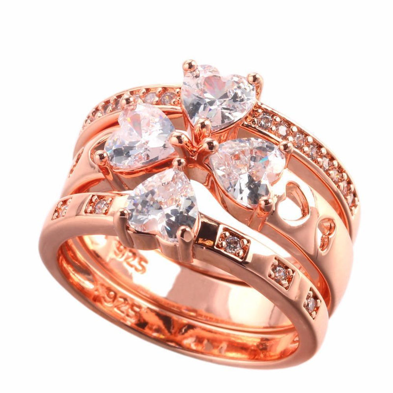 Unique Rose Gold Plated 3 in 1 Ring - atperry's healing crystals