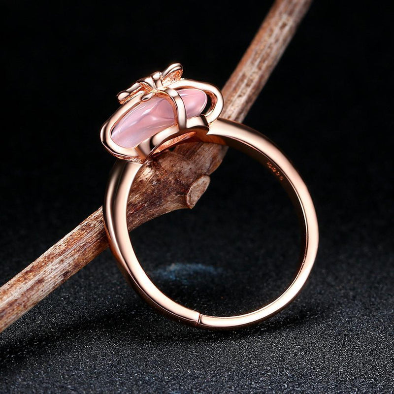 Rose Quartz Heart Ring - 925 Sterling Silver - AtPerry's Healing Crystals™