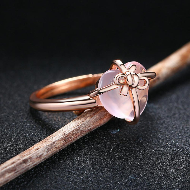 Rose Quartz Heart Ring - 925 Sterling SilverRing