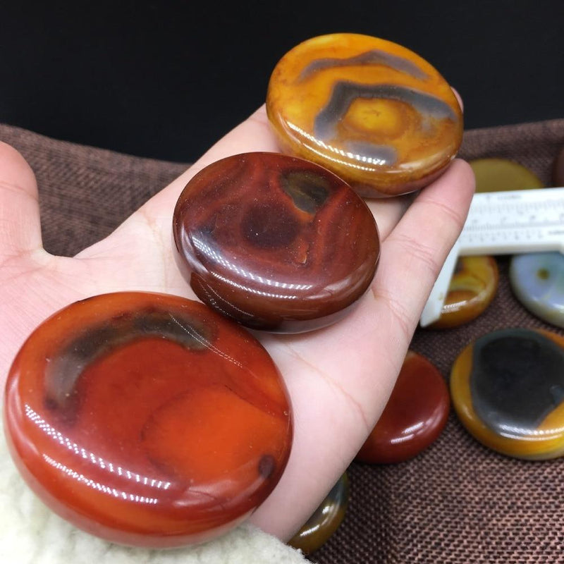 Charming Natural Red Onyx Agate Palm Stonesraw stone