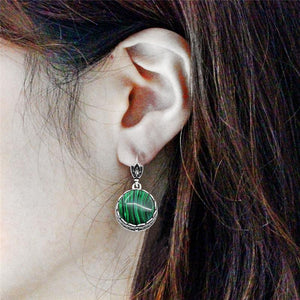 Classic Round Malachite Earrings - atperry's healing crystals