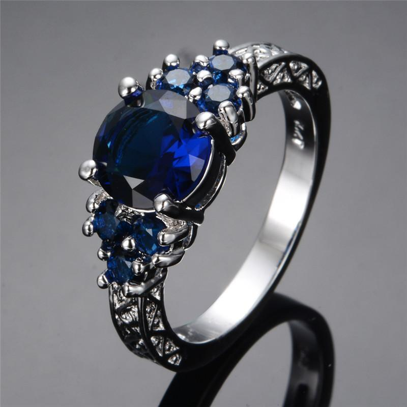 Blue Sapphire Stone Ring   AtPerrys Healing Crystals   1