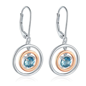 Round Top Topaz Silver Earrings - atperry's healing crystals