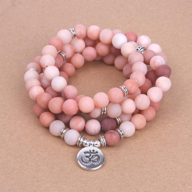 Pink Frosted Mala with OM, Lotus or Buddha Pendant