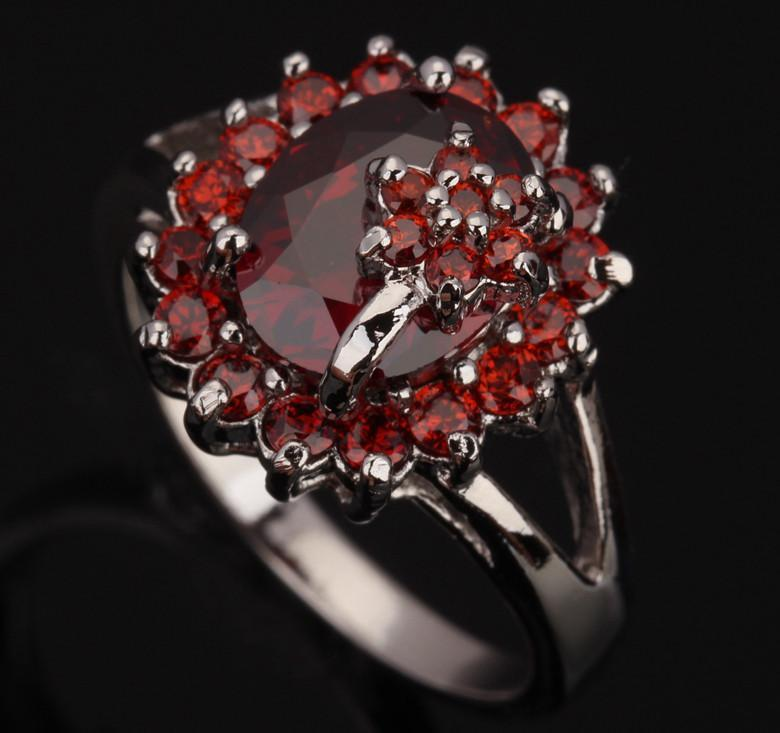 Flowers Red Garnet Silver Ring - 925 Sterling